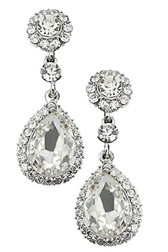 Art Deco Tacori Style Halo Rhinestone Wedding Bridal Prom Earrings (Vintage Bridal Earrings)