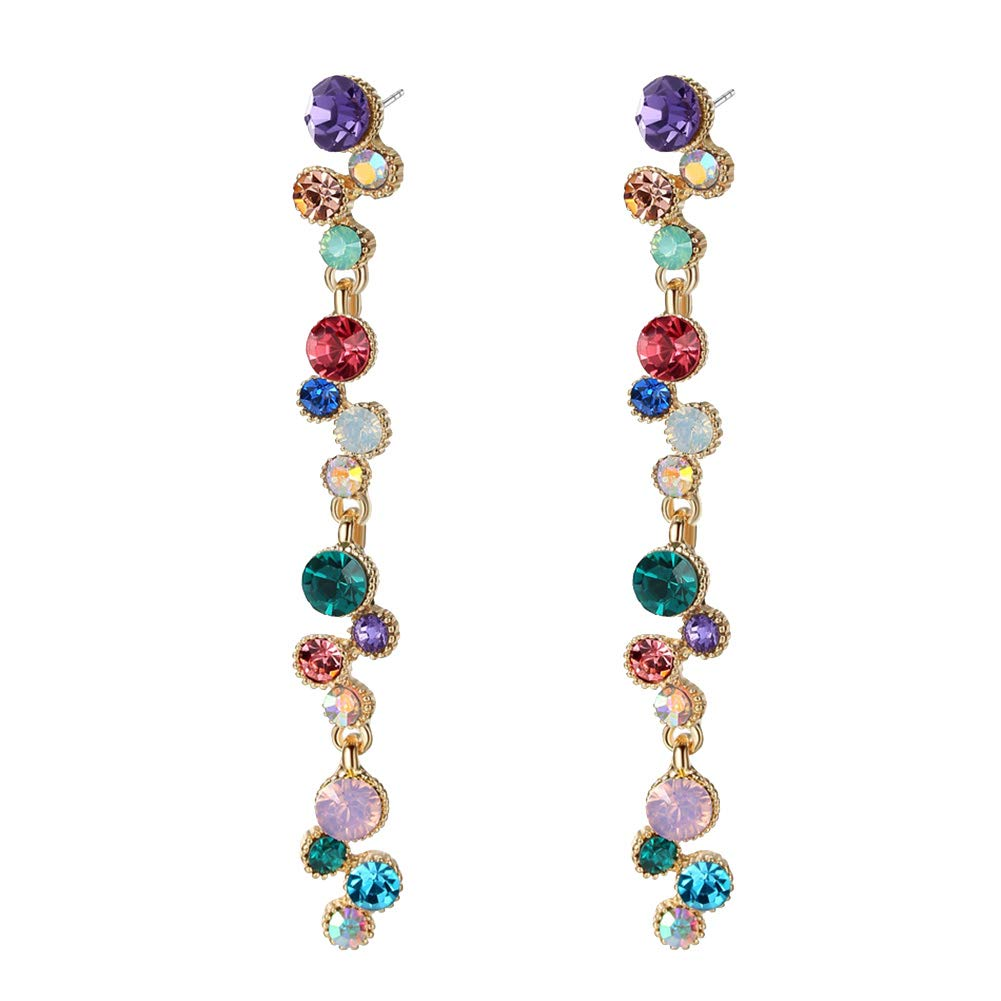 gioielli regalo Gzzebo orecchini da donna orecchini vintage con strass colorati a forma di striscia lunga