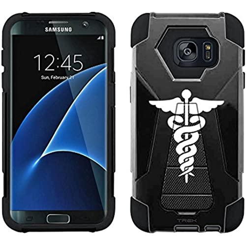 Samsung Galaxy S7 Edge Hybrid Case Silhouette Cadueus on Black 2 Piece Style Silicone Case Cover with Stand for Samsung Galaxy S7 Edge Sales