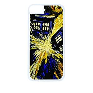 Tardis Explosion-Hard White Plastic Snap - On Case with Soft Black Rubber Lining-Apple Iphone 4 - 4s - Great Quality!