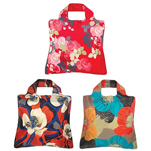 Envirosax Mai Tai Bloom Reusable Shopping Bags (Set of 3), Exotic Floral ()