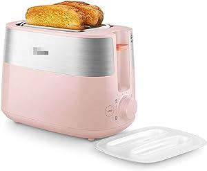 2 slice toaster, multi-function toaster, fully automatic toaster breakfast machine, 8-speed heating toaster, pink,Bread machine