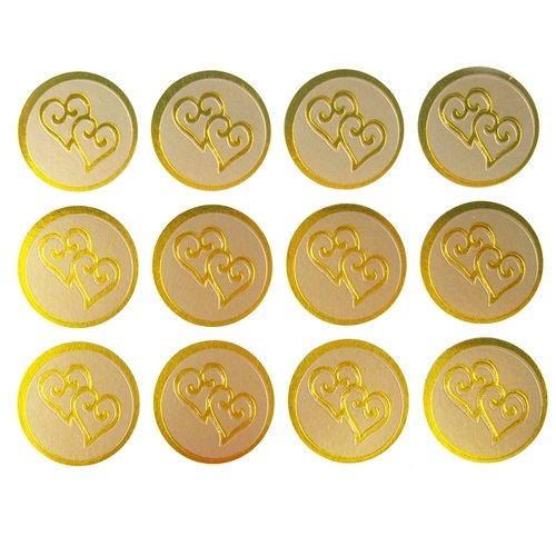 (Homeford Firefly Imports Twin Heart Print Wedding Foil Seal Stickers, 1-Inch, 100-Count, Gold,)