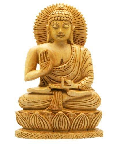 (Buddha Groove Hand Carved Wood Sitting Buddha Statue)