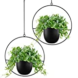 Abetree 2 Pcs Boho Metal Hanging Planters for Indoor Plants with Hooks Modern Wall and Ceiling Planter Mid Century Minimalist Flower Pot Hold Planter for Outdoor Plants Home Decor(Black)