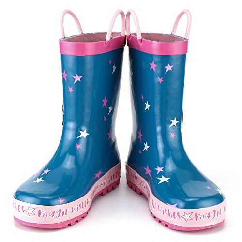 KomForme Kids Girl Rain Boots, Waterproof Rubber Printed with Handles in Various Prints and Different Sizes by KomForme (Image #3)