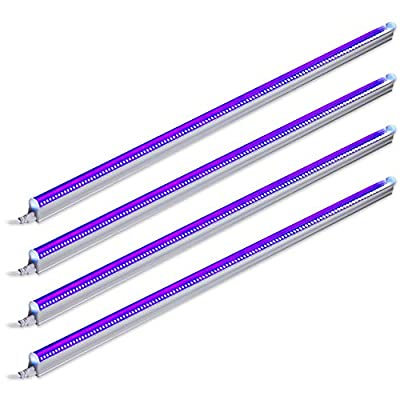Barrina UV LED Blacklight bar 9w 2ft T5 Integrated Bulb Black Light Fixture for Blacklight Poster and Party Fun Atmosphere with Built-in ON/Off Switch(4-Pack)