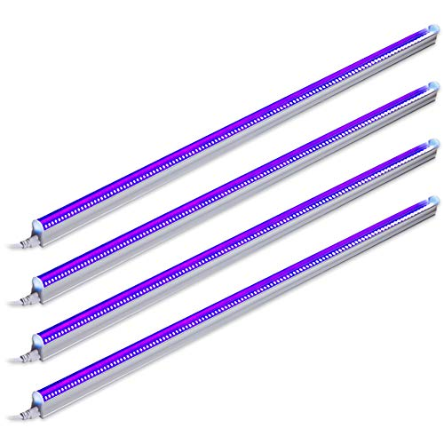 Barrina UV LED Blacklight bar 22w 4ft T5 Integrated Bulb Black Light Fixture for Blacklight Poster and Party Fun Atmosphere with Built-in ON/Off Switch (4-Pack)