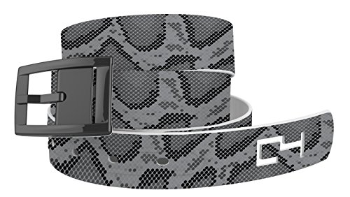 C4 Design Belt: Snakeskin Grey Strap/Black Chrome Buckle - Fashion Belt - Waist Belt for Women and Men