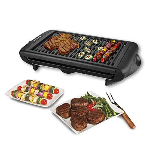 Electric Indoor Grill Portable Smokeless Kitchen Non Stick Cooking BBQ Griddle (Best Kebab House Number)