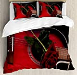 Red and Black Duvet Cover Set by Ambesonne, Spanish Musician Portugal Hand Made Guitar with Romance Theme Love Rose, 3 Piece Bedding Set with Pillow Shams, Queen / Full, Ruby and White