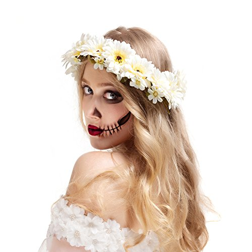 Toddlers And Tiaras Costume Makeup (Valdler Halloween Decoration Costume Exquisite Daisy Flower Crown with Adjustable Ribbon for Wedding Festivals)