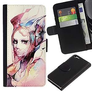 Billetera de Cuero Caso del tirón Titular de la tarjeta Carcasa Funda del zurriago para Apple Iphone 6 4.7 / Business Style Fashion Watercolor Art Design Clothes