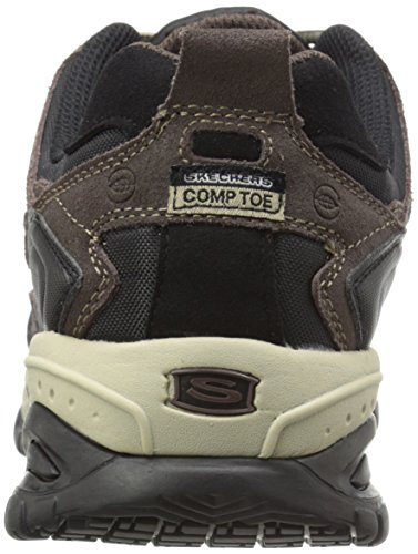 Skechers For Work 77013 flexible Stride Grinnel Slip acero RÃ © sistant Toe Work Shoe marr�n
