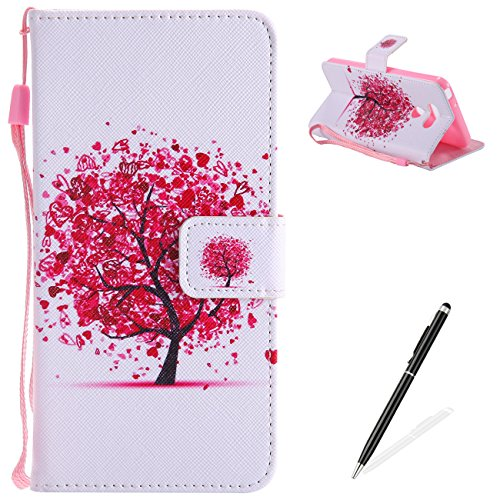 (MAGQI LG G6 Case PU Leather Flip Cover Magnetic Closure Stand Function Book Style Card Slot Cash Clip Shockproof with Hand Wrist Strap for LG G6-Red Heart Tree Floral)