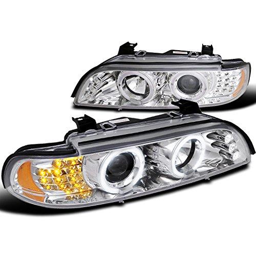 Spec-D Tuning 2LHP-E3997-8V2-TM Bmw 5-Series Led Corner Chrome Clear Projector Head Lights