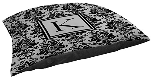 Manual Woodworkers & Weavers Damask Indoor/Outdoor Pet Bed, Monogrammed Letter K, Black and Grey