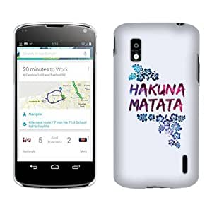 Fincibo (TM) LG Google Nexus 4 E960 Back Cover Hard Plastic Protector Case - Galaxy Hakuna Matata
