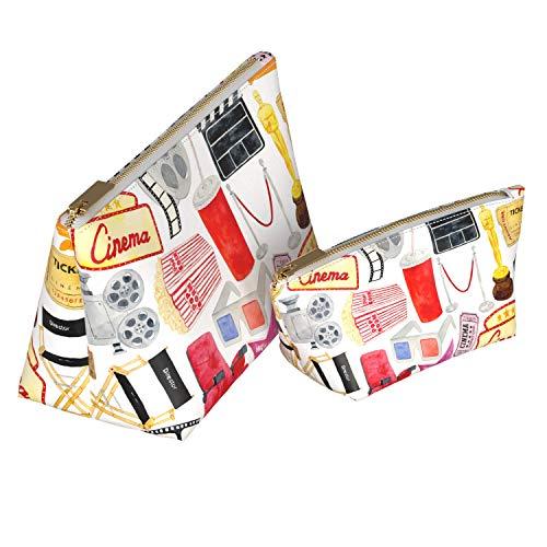 (Wonder Wild 2 Pac Handmade Makeup Bags Waterproof Cosmetic Handbag Mini Portemonnaie Travel Organizer with Metal Zipper for Women Girl Lady Cute Cinema Pattern Oscar Star Popcorn Camera Statuette)
