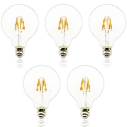 Mengjay® 5 unidades 8 W G125 bombilla no regulable LED 8 filamento Bombilla Blanco Cálido