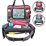 """Kids Car Seat Travel Tray Toddler Snack and Play Lap Tray Featuring Unique Fold-in """"No Need to Unload Again"""" Side Pockets with Zipper by BE Family Travel (Pink)"""
