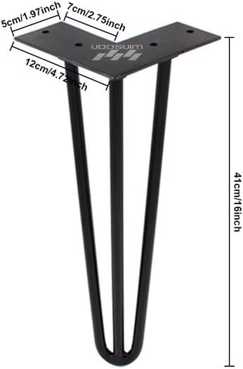 ZEKOO 4 PCS Heavy Hairpin Breakfast Coffee Bar Worktop Wood Metal Table Support Table Leg Square Round (Black 16 inches 3-Rod)
