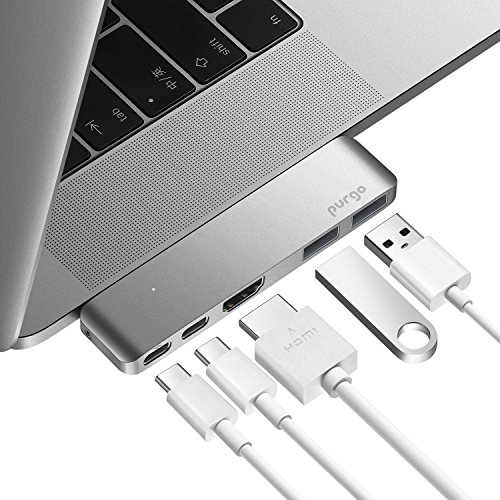 USB C Hub, Purgo Slim Aluminum Thunderbolt 3 USB C Adapter Dongle with 4K HDMI, 40 Gbps TB3 5K@60Hz, 100W Power Delivery and 2 USB 3.1 Ports for 2016/2017 MacBook Pro 13″ and 15″(Space Grey)