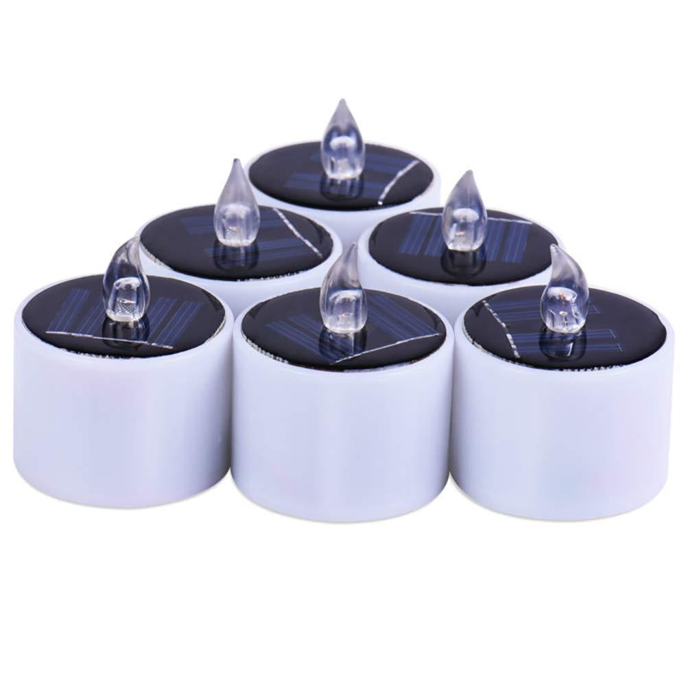 camino patio coolwhite Linterna solar con luces de t/é Konesky con velas LED paquete de 6 Luces con velas parpadeantes sin llama recargables con LED Velas a bater/ía a prueba de agua para jard/ín