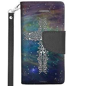 Apple iPhone 5 Wallet Case - Tribal Cross on Nebula Blue Green
