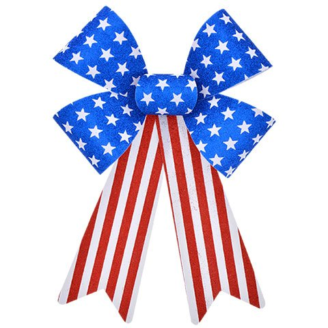 Hobeez Patriotic Red, White and Blue Stars and Stripes Set of Bows (1 Large, 2 Small) by Hobeez
