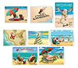 Beach Christmas Card Variety Pack - 24 Cards & Envelopes - 8 Designs, 3 Cards Per Design - Assortment #1