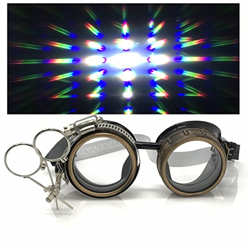 Steampunk Victorian Style Goggles with Compass Design, Rave Diffraction Glasses Spiral Lenses Spiral Crystal Clear Lenses -