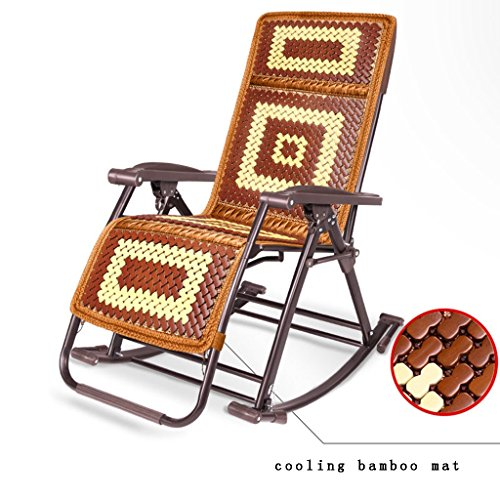 (GJM Shop Recliners Textilene Fabric Siesta Chair Brown Jacquard/black Jacquard+cooling Bamboo Mat Rocking Chair Folding Chair Adult Office Old Man Household Chair Beach Balcony Deck Chair Lounge Chair)