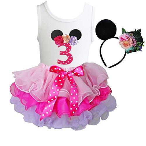 Kirei Sui Tutu & 1st - 6th Birthday Tee & Floral Mouse Headband S Three ()