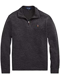 Mens Half Zip French Rib Cotton Sweater (Small,...