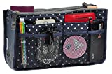 Purse Organizer,Insert Handbag Organizer Bag in Bag (13 Pockets 15 Colors 3 Size) (M, Navy Blue Dot)