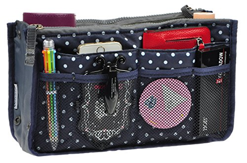Purse Organizer,Insert Handbag Organizer Bag in Bag (13 Pockets 15 Colors 3 Size) (S, Navy Blue Dot) (Dot Zip Purse)