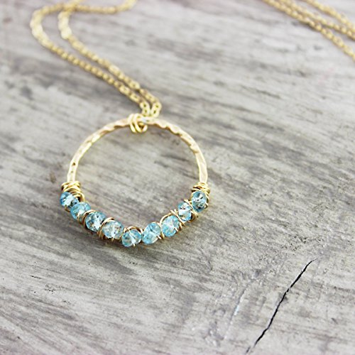 Sky Blue Topaz Gold Filled Circle Necklace - 16