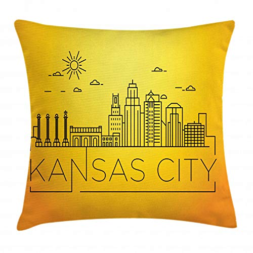 Ambesonne Kansas City Throw Pillow Cushion Cover, Minimal Kansas Missouri Linear City Skyline with Typographic Design, Decorative Square Accent Pillow Case, 18