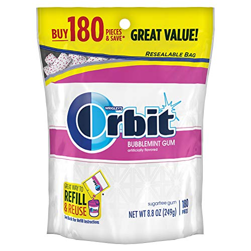 - ORBIT Bubblemint Sugarfree Gum, 8.8-Ounce Resealable Bag, 180 Pieces