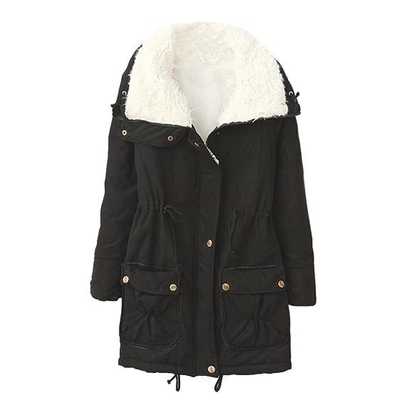 Xinan Abrigo Largo cálido de Mujer Chaqueta con Cuello Vuelto Abrigos Largos de Invierno Parka Outwear