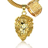 "Halukakah ""KINGS LANDING"" Men's 18k Real Gold Plated 3D Lion Pendant Necklace ""RICH"" Ring Set,with FREE SharkTail Chain 30"""