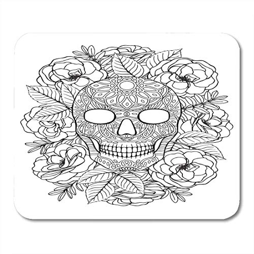 BGLKCS Zentangle Black Adult Sugar Skull A4 Coloring Book Page White Tattoo Halloween Mouse Pad 8.6 X 7.1 in