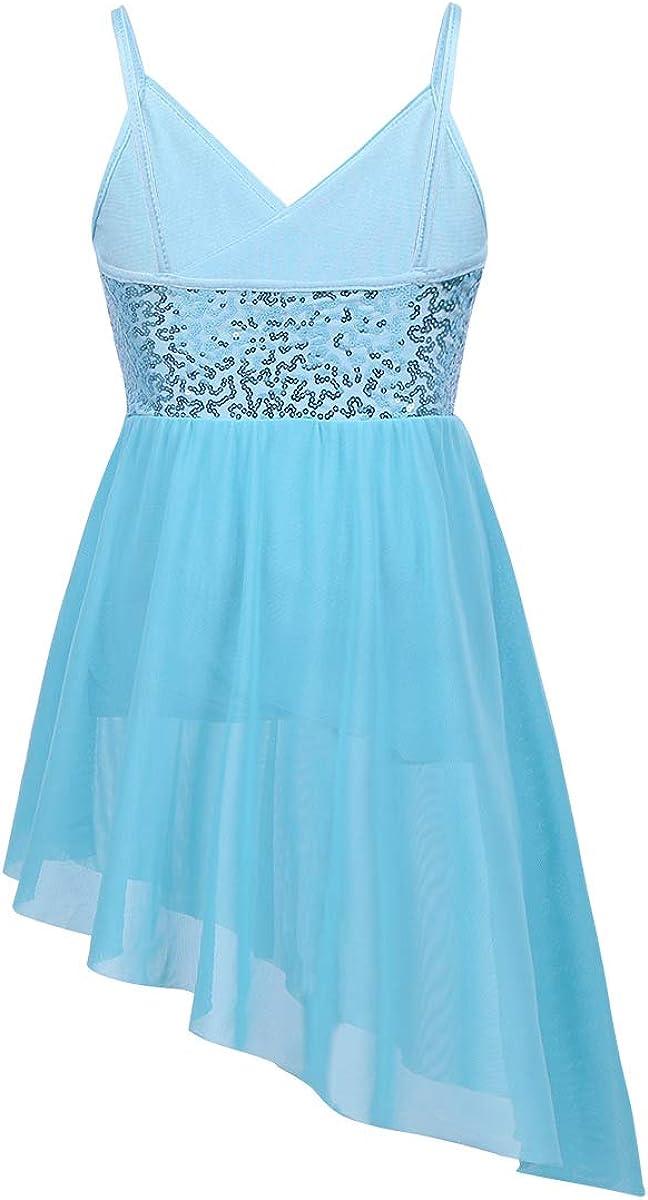 iiniim Girls Sequined V-Neck Ballet Latin Lyrical Dance Dress Camisole Leotard Asymmetrical Chiffon Skirt