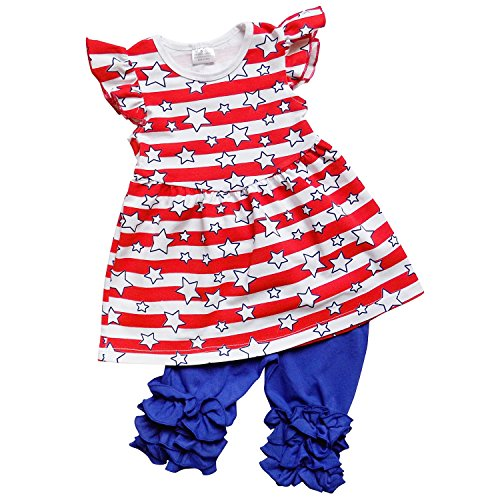 So Sydney Girls Toddler Short Sleeve Ruffle Bottom Tunic Top Capri Pants Outfit (XXL (7), July 4th Stars & Stripes) (Cropped Pants Tunic & Set)