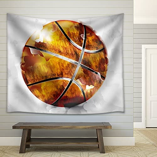 Vector Basketball Ball in Watercolor Style Fabric Wall