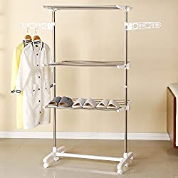 Ollieroo Premium Stainless Steel Drying Rack Fold-able Rolling 6-Wheels Clothes Laundry Dryer Hanger Compact Storage