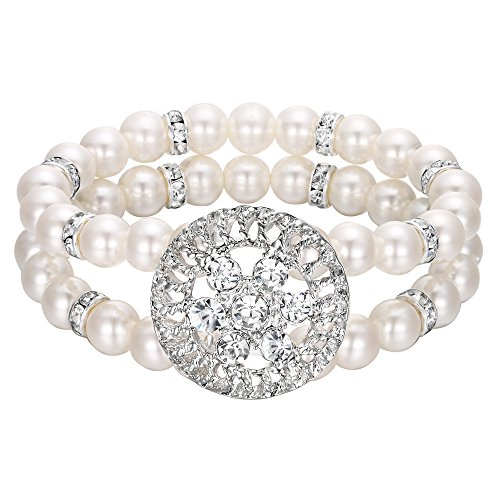 BriLove Women's Wedding Bridal Bracelet, Simulated Pearl Crystal Double Row Strand Halo Hollow Vintage Stretch Bracelet Clear Silver-Tone Ivory -