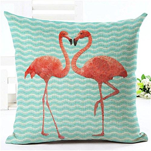 [Yunko Red Flamingo Series Cotton Linen Square Pillowcase Decorative Cushion Throw Pillow Covers, 18 X 18 Inch (s4868)] (Flamingo Throw)