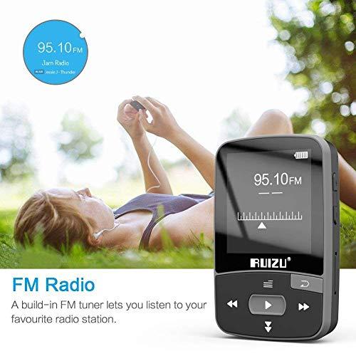 Mini MP3 Player RUIZU X50 8GB Bluetooth Clip Academia Esportes Fitness Corrida Pedômetro Rádio FM Fone de Ouvido - PRETO
